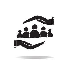group of people and hands icon. group of people sign.