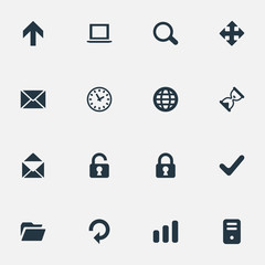 Set Of 16 Simple Apps Icons. Can Be Found Such Elements As Computer Case, Check, Arrows And Other.