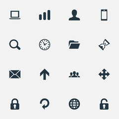 Set Of 16 Simple Practice Icons. Can Be Found Such Elements As Message, Arrows, Sand Timer.