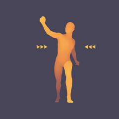 Walking Man. 3D Human Body Model. Design Element.
