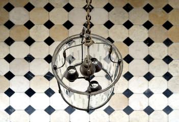 Chandelier and tiled floor