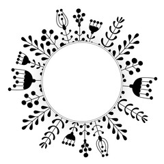 Hand drawn floral wreaths with leaves, flowers, berries. Vector round frames. Decorative elements for design.
