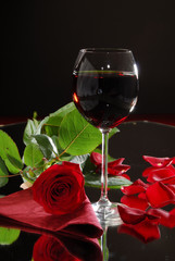 wine and red rose, celebration
