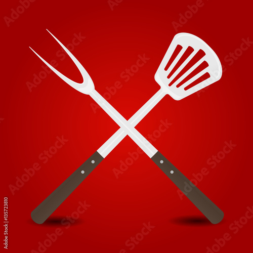 """Crossed big fork and spatula on red background"" Stock ..."