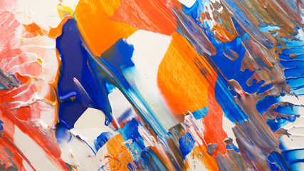 a abstract acrylic background texture painting with the colors orange, blue, red, white
