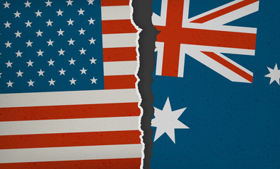Flag of USA and Australia torn apart - Political Tension, Modern Flat 2.0 Design with paper rip, textures and drop shadow