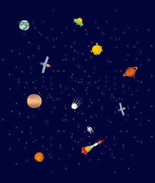 Space. Pplanets and spaceships. UFO and astronaut. Stars on cosm