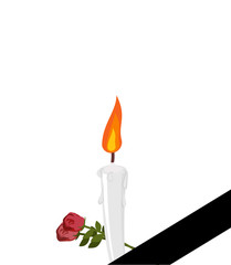 Mourning frame Black ribbon. Candles and flowers isolated.