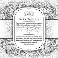 Vector Monochrome Floral Template with Place for Text