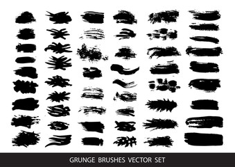 Set of black paint, ink, grunge, dirty brush strokes. Vector illustration.