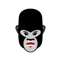 Gorilla angry Emoji. Monkey Evil emotion isolated