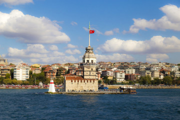 Istanbul, Turkey - September 13, 2016: Maiden Tower view from Bosphorus, built for seeking enemy ships