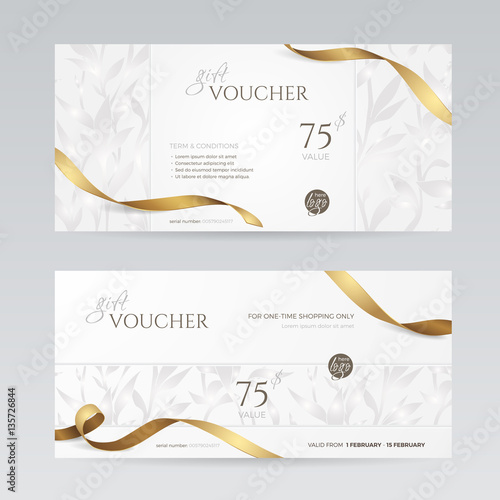 Set Of Stylish Gift Voucher With Golden Ribbon And Silver Floral
