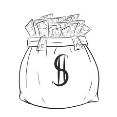 Money bag vector on white background.Money bag sketch by hand drawing.
