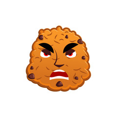 Cookies angry Emoji. biscuit emotion aggressive. Food Isolated