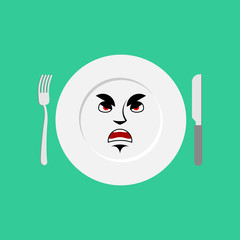 Plate angry Emoji. Empty dish isolated aggressive emotion