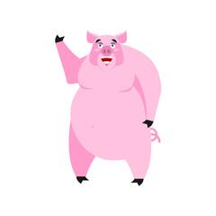 Pig happy Emoji. piggy merry emotion on white background. Farm a