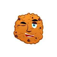 Cookies winking Emoji. biscuit emotion happy. Food Isolated