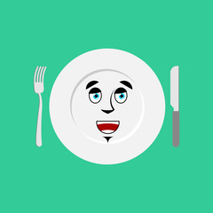 Plate happy Emoji. Empty dish isolated merry emotion
