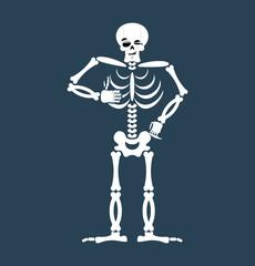 Skeleton thumbs up Emoji. Skull winks emotion isolated. Human bo