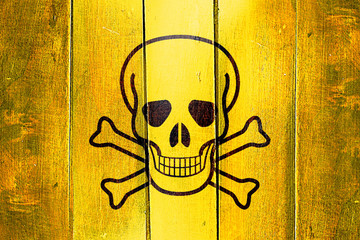 Vintage Poison sign background on a grunge wooden panel