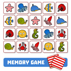 Memory game for children, cards with sea animals