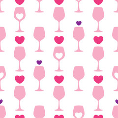 Vector seamless pattern with pink silhouette of wineglass and hearts on the white background. Design for wine and winery. Romantic background with heart and glass for Valentine design.