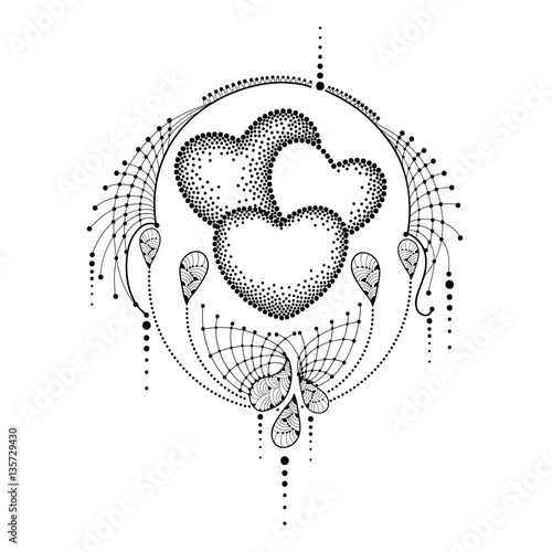 Vector Illustration With Three Dotted Heart And Ornate Lace In Black