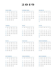 Calendar for 2019 year. Week starts Sunday. Vector Illustration