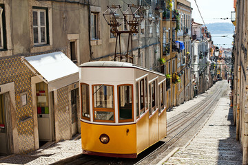 Yellow funicular in Lisbon