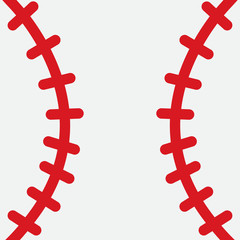 baseball ball laces white red design icon background vector stock