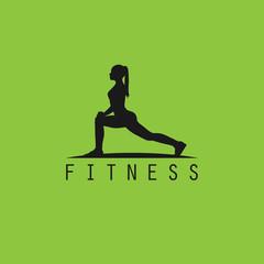 Fitness logo woman silhoutte body active exercise design female training illustration vector stock