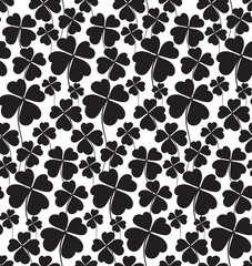 Clover black and white seamless pattern