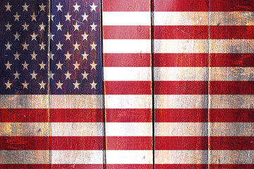 Vintage America  flag on grunge wooden panel