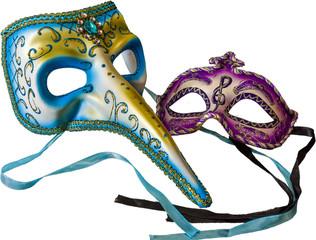 Carnival masks in  white background