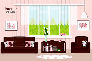 Cozy living room with furniture. Window, chair , sofa, carpet, or table. Vector illustration.