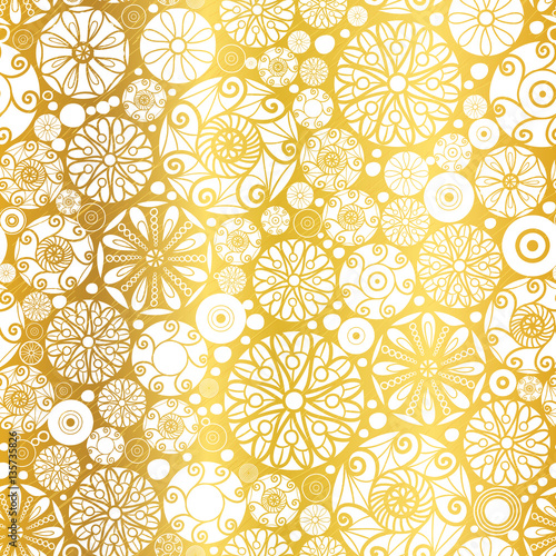 Vector Gold White Abstract Doodle Circles Seamless Pattern
