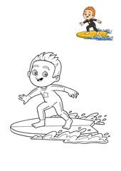 Coloring book, Surfer boy