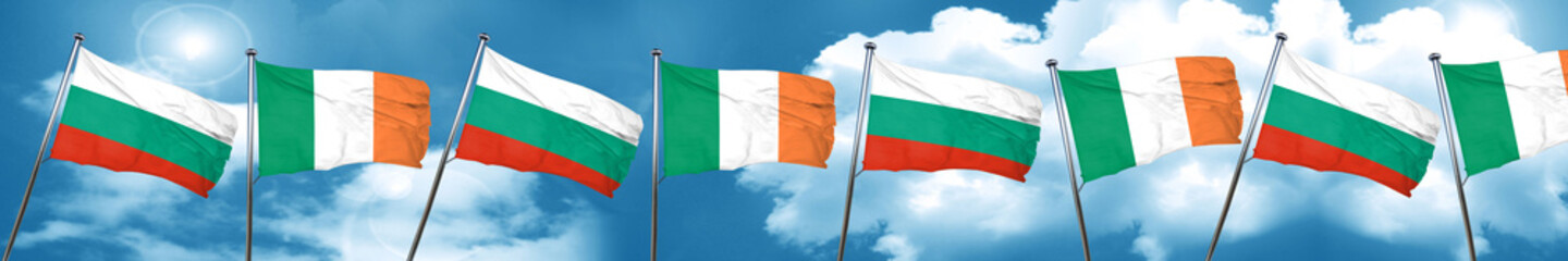 bulgaria flag with Ireland flag, 3D rendering