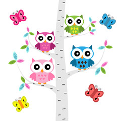 Vector set of a colorful owls and butterflies at the tree