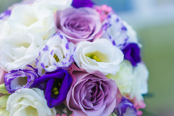 Beautiful bouquet of purple and white colors. Wedding bouquet