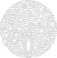 Different floral elements in a isolated circle with dots, swirls and stripes. Pattern for for coloring books and antistress therapy. Vector illustration.