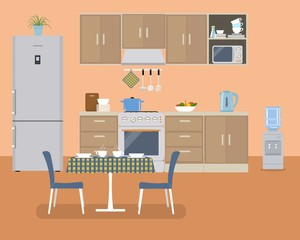 Kitchen in orange color. There is a furniture of a beige color, a stove, a water cooler, a table, two chairs and other objects in the picture. Vector flat illustration
