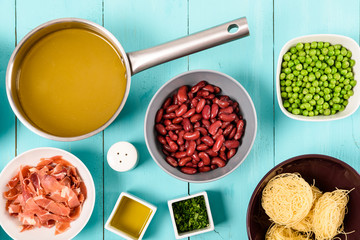 Bacon, Vegetable Stock, Beans and Peas And Vermicelli Pasta Food Ingredients For Minestrone Soup Recipe