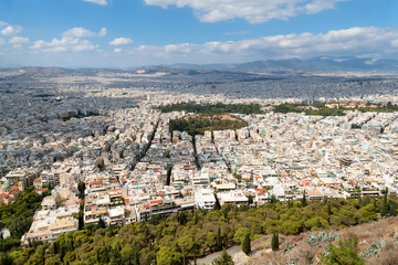 Aerial cityscape of Athens from Mount Lycabettus, Greece