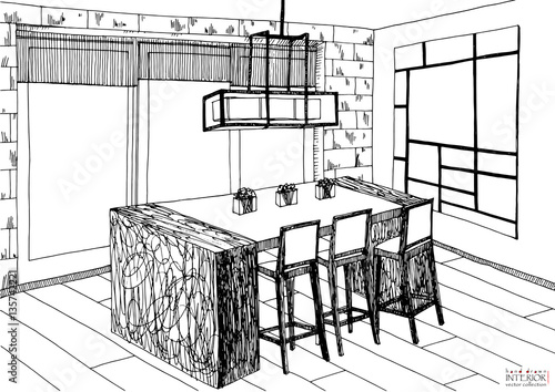 Black And White Sketch Of Interior Design Project Hand Drawn