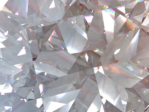 layered texture triangular diamond or crystal shapes background. 3d rendering model