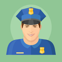 Policeman flat icon on green background. Male character vector illustration.