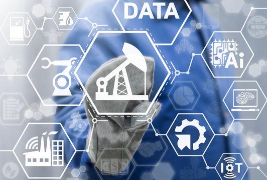Oil industry 4.0 iot integration web computing concept. AI information technology fuel production. Big data gasoline manufacturing modernization drilling exploration. Oil pump icon.