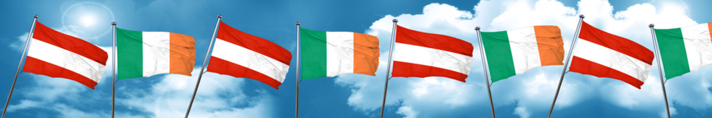 Austria flag with Ireland flag, 3D rendering